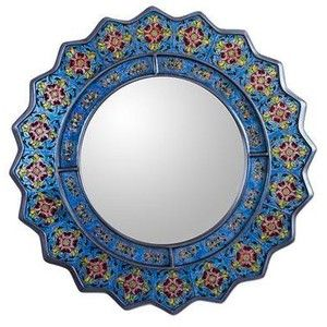 NOVICA Reverse Painted Glass Floral Mirror