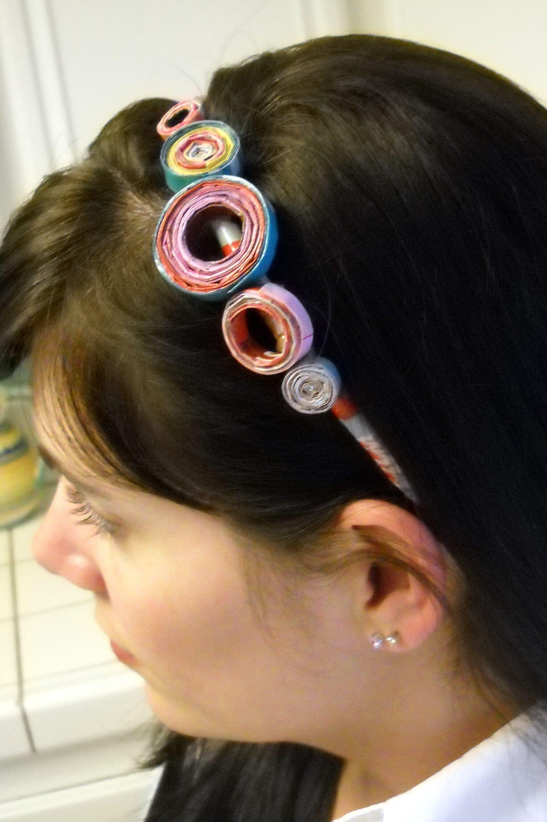Rolled magazine headband