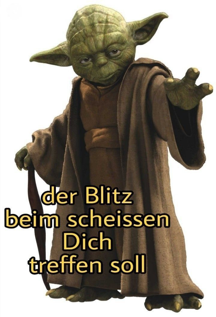 Yoda Star Wars lustig witzig Sprüche Bild. Der Blitz beim