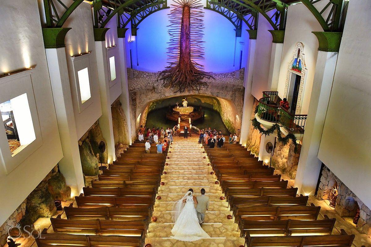 Bird S Eye View Bride Entrance Catholic Wedding Ceremony Xcaret Chapel Of Guadalupe Cenote Church Pl Catholic Wedding Catholic Wedding Ceremony Mexico Wedding