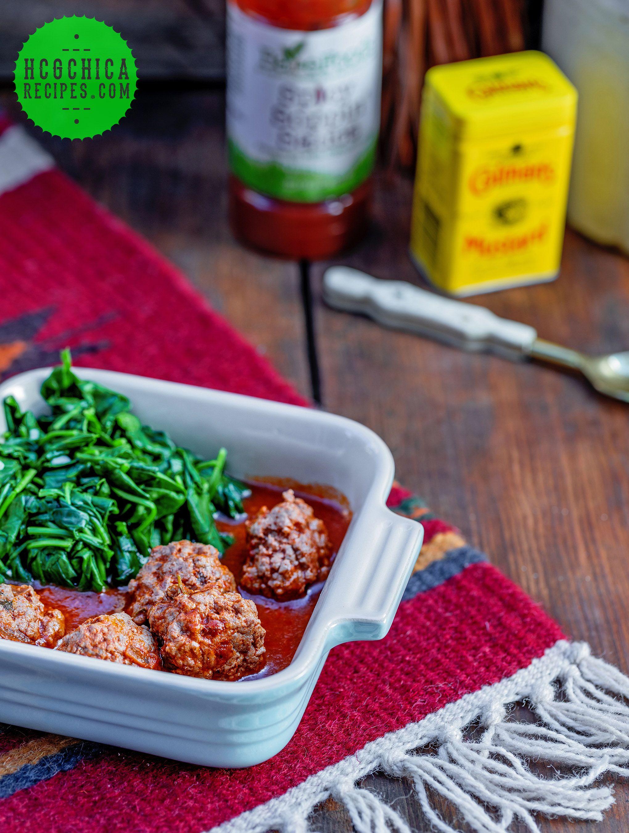 P2 Hcg Recipe Bbq Meatballs Garlic Spinach Sp Recipe Hcg