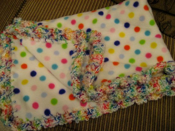 Baby Blanket With Crochet Ruffle - Bright Primary Colors Polka Dots - Baby Girl or Boy