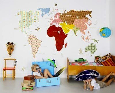 Kids playroom wall idea with fabric map wall covering wall decor discover educational and interactive wallpaper murals with alphabet stars animals maps all in a fun and cool design free world wide delivery gumiabroncs Choice Image