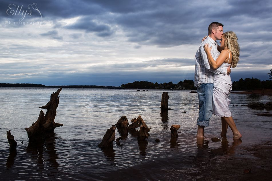 In Lake Norman #greysky #beautifulclouds #lakenorman #engagement #couple #photography www.ellysphotography.com