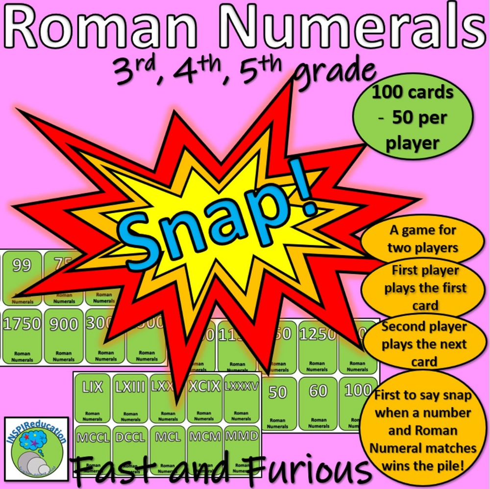 Roman Numerals - Snap! Card Game (100 cards with a range of numbers used)    Card games [ 997 x 1000 Pixel ]
