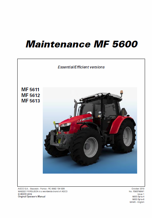 Massey Ferguson 5611 5612 5613 Tractors Operating And Maintenance Manual Tractors Massey Ferguson Operation And Maintenance