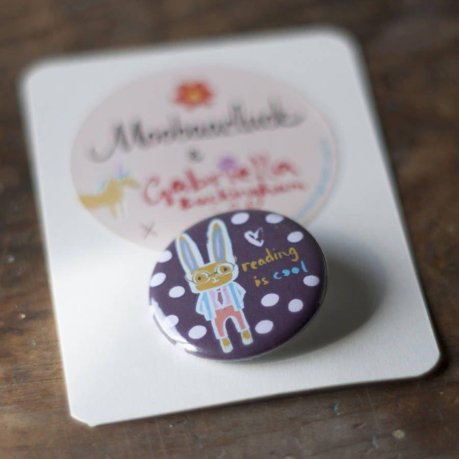 'Reading Is Cool' Rabbit Badge