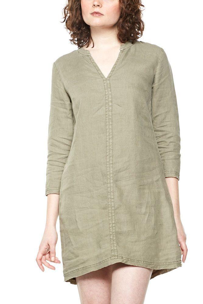 Michael Stars Woven Linen Dress w/Frayed Edges in Olive Moss