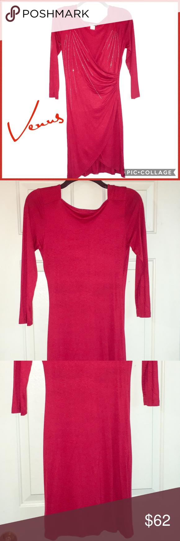 Venus red bodycon long sleeved wrap dress size xs shop my posh