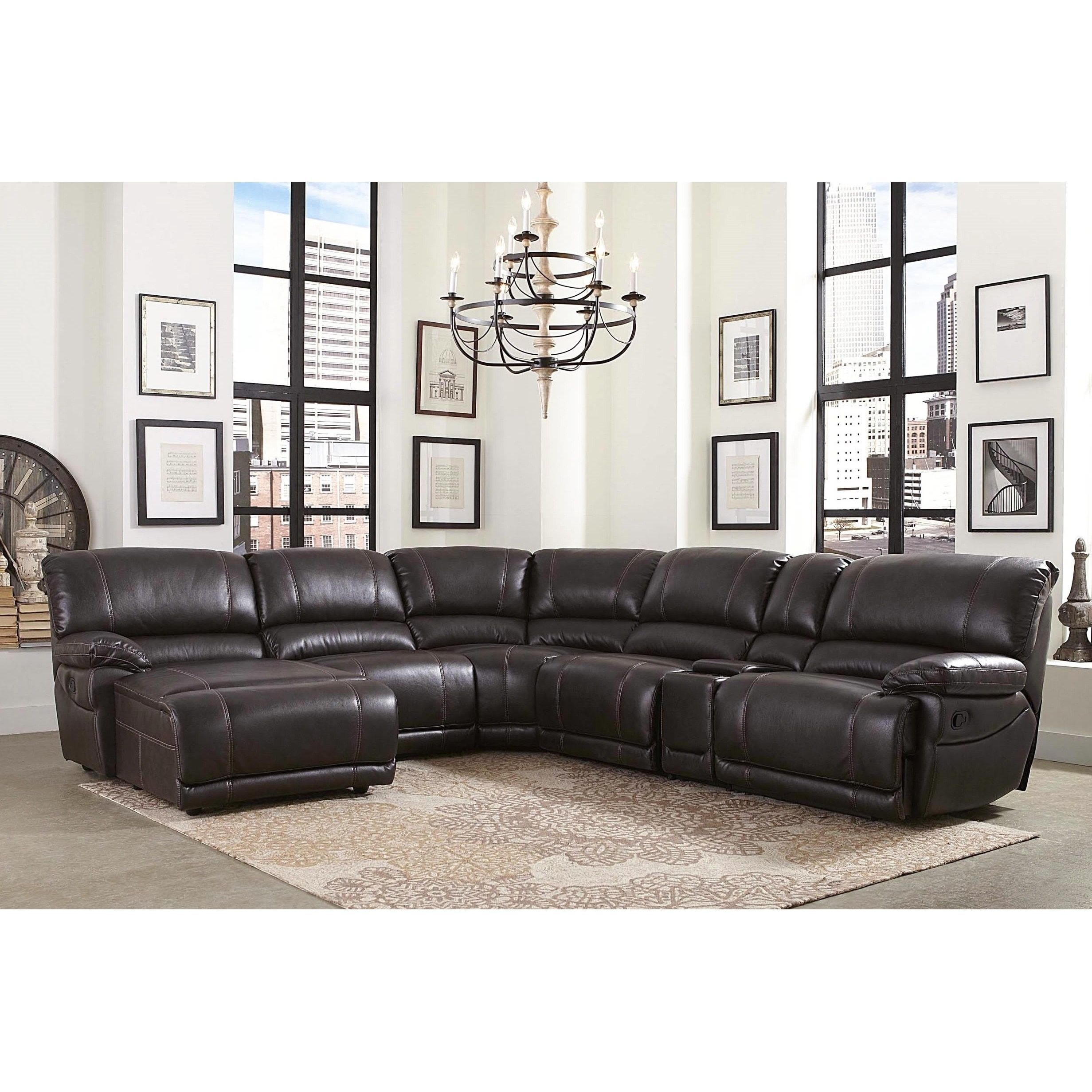 Enjoyable Abbyson Cooper 6 Piece Dark Brown Sectional Sofa Brown Caraccident5 Cool Chair Designs And Ideas Caraccident5Info