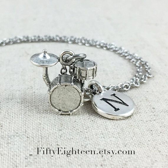 Personalized Drum Set Charm Necklace Silver Drum by FiftyEighteen