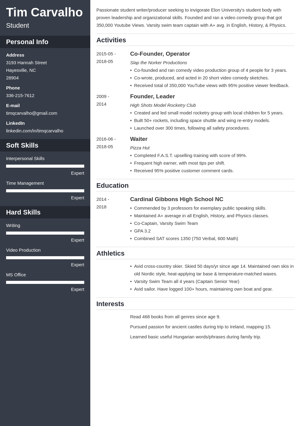 College Resume Template for High School Students (2020)