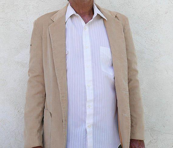 ON SALE Vintage Corduroy Jacket, Men's Medium Beige Sports Coat
