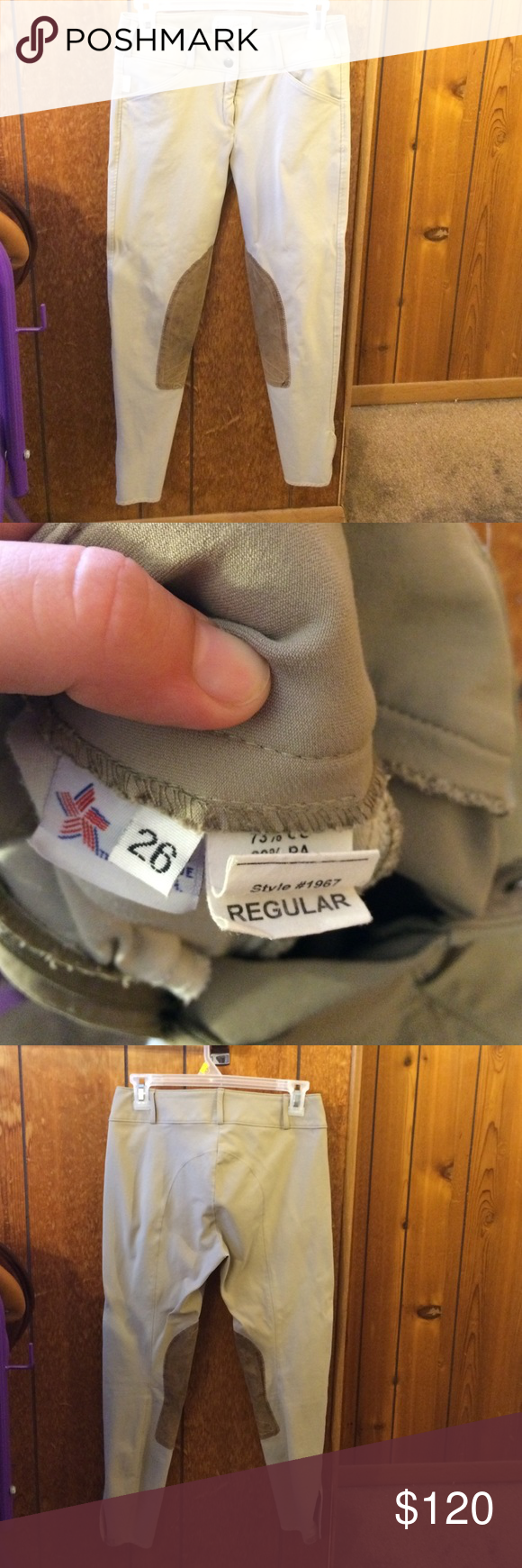 Tailored Sportsman Trophy Hunters tan 26 breeches Tailored sportsman size 27 tan breeches. Very good condition. Stitching slightly coming loose in top left corner of label. A few small dark marks on knee patch. Very good condition, well taken care of. Tailored sportsman Pants