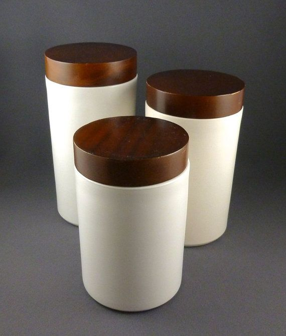 Ceramic And Wood Kitchen Canister Set