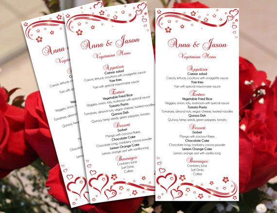 DIY Printable Wedding Menu Microsoft Word Template Editable - Red - Menu Word Template