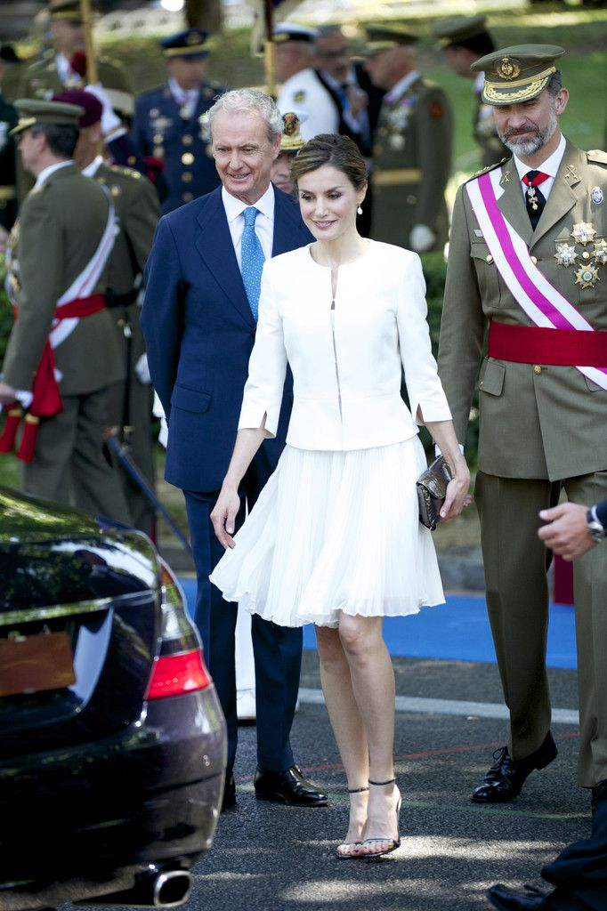 Defense Minister Pedro Morenes, Queen Letizia of Spain and King Felipe VI of Spain attend the 2015 Armed Forces Day at Plaza de la Lealtad on June 6, 2015 in Madrid, Spain.
