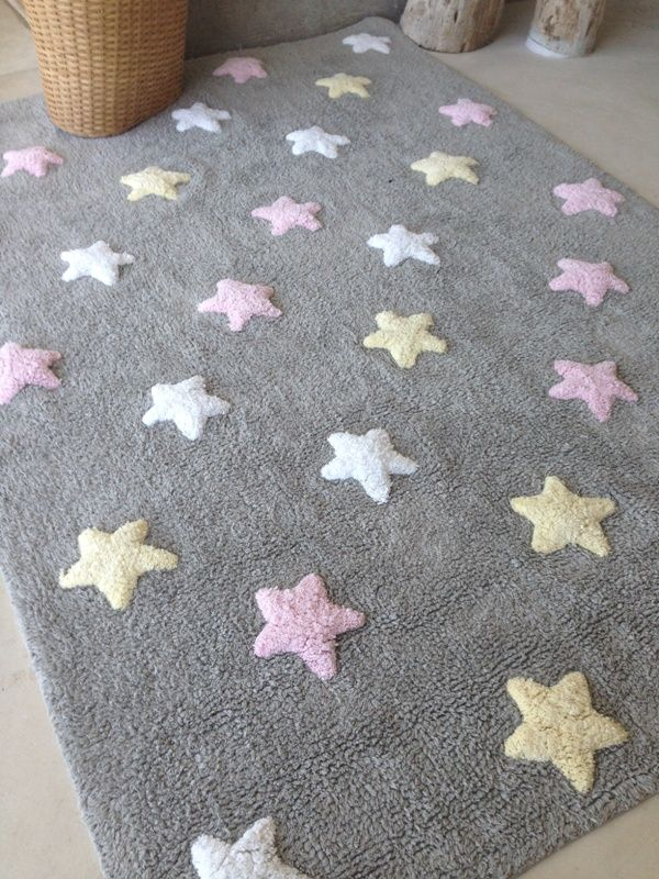 Washable rug tricolor stars alfombra lavable estrellas - Alfombra estrellas ikea ...