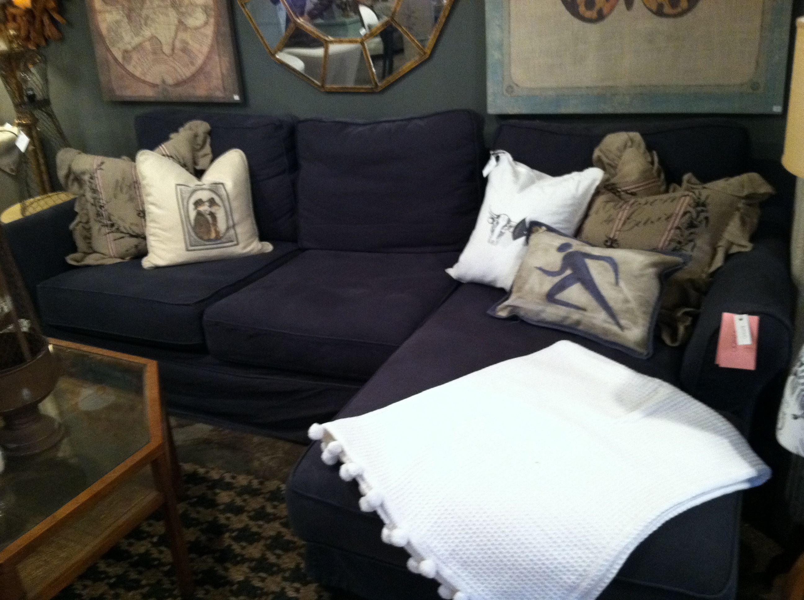 Navy sectional sofa For the Home Pinterest