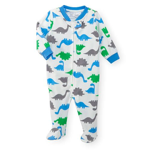 Koala Baby Boys Long Sleeve Printed Fleece Zip Front Footie