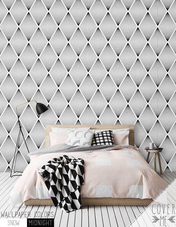 Diamond Geometric Pattern Wallpaper Simple Removable Etsy Geometric Pattern Wallpaper Pattern Wallpaper Geometric Wall
