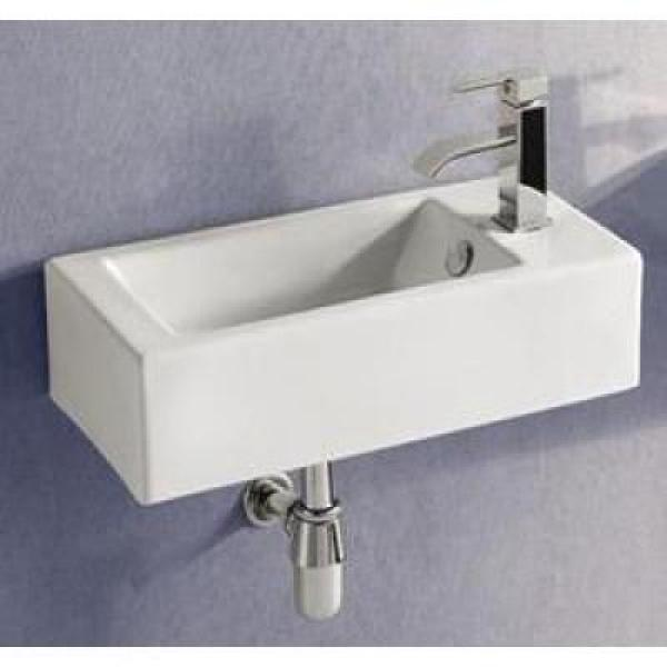 Elanti Wall Mounted Left Facing Rectangle Bathroom Sink In White