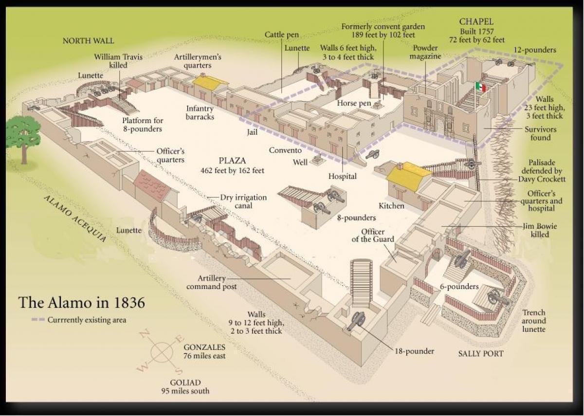 Map of the Alamo - Alamo San Antonio map (Texas - USA) in ...