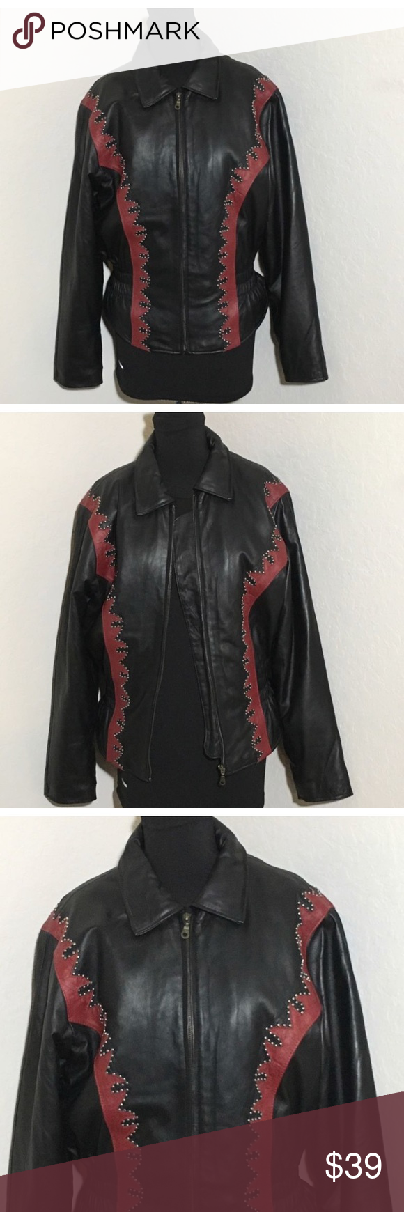 Black Red Flame Studded Leather Jacket Motorcycle Women's