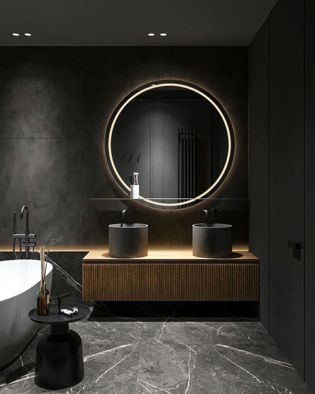 Design Magazine On Instagram Dark Bathroom Concept By Cartelledesign Bathroom Design Black Bathroom Design Decor Dark Bathrooms