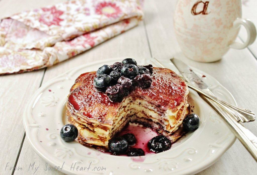 Lemon Ricotta Pancakes with Blueberry Maple Syrup | From My Sweet Heart