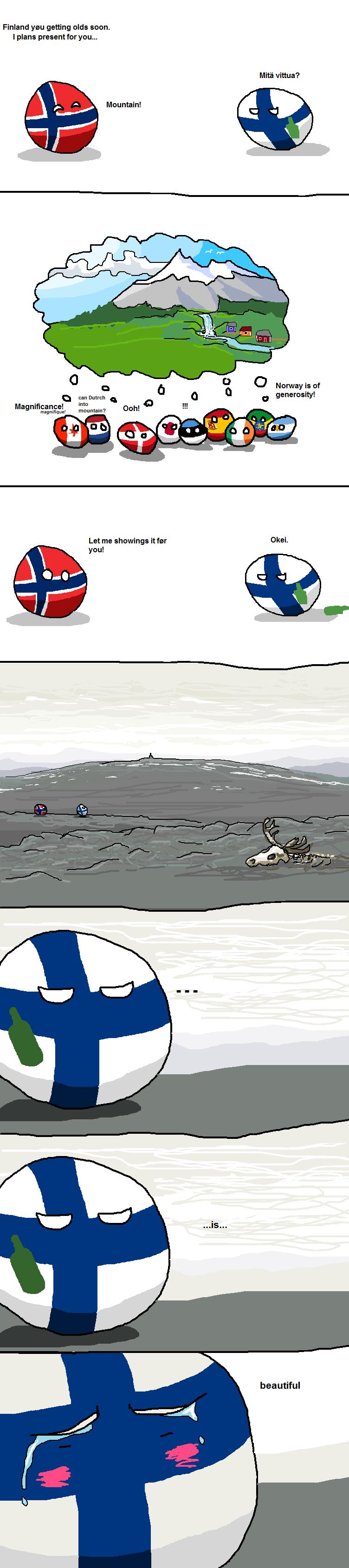 Lopulta se vuoren antaminen ei kai ees onnistunu? Koska Norja meinas ihan oikeesti antaa vuoren suomelle.