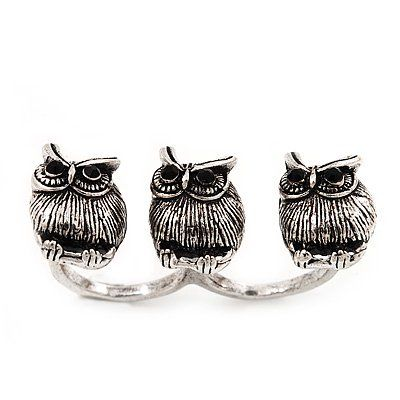 Amazon.com: Vintage Triple Owl Two Finger Ring In Burn Silver Metal Size - Flex (Size 7/8): Jewelry