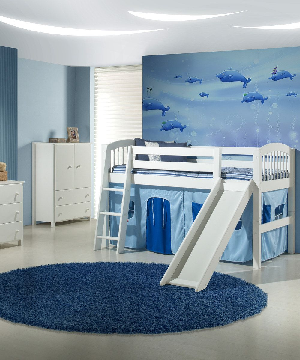 Full loft bed with slide  Camaflexi White Arch Spindle Twin Low Loft Bed u Slide  Low loft