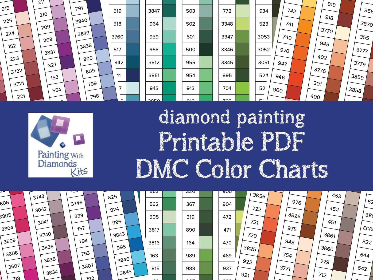 Printable Pdf Dmc Color Charts Diamond Painting Drill Color Etsy In 2020 Dmc Floss Chart Paint Color Chart Diamond Painting