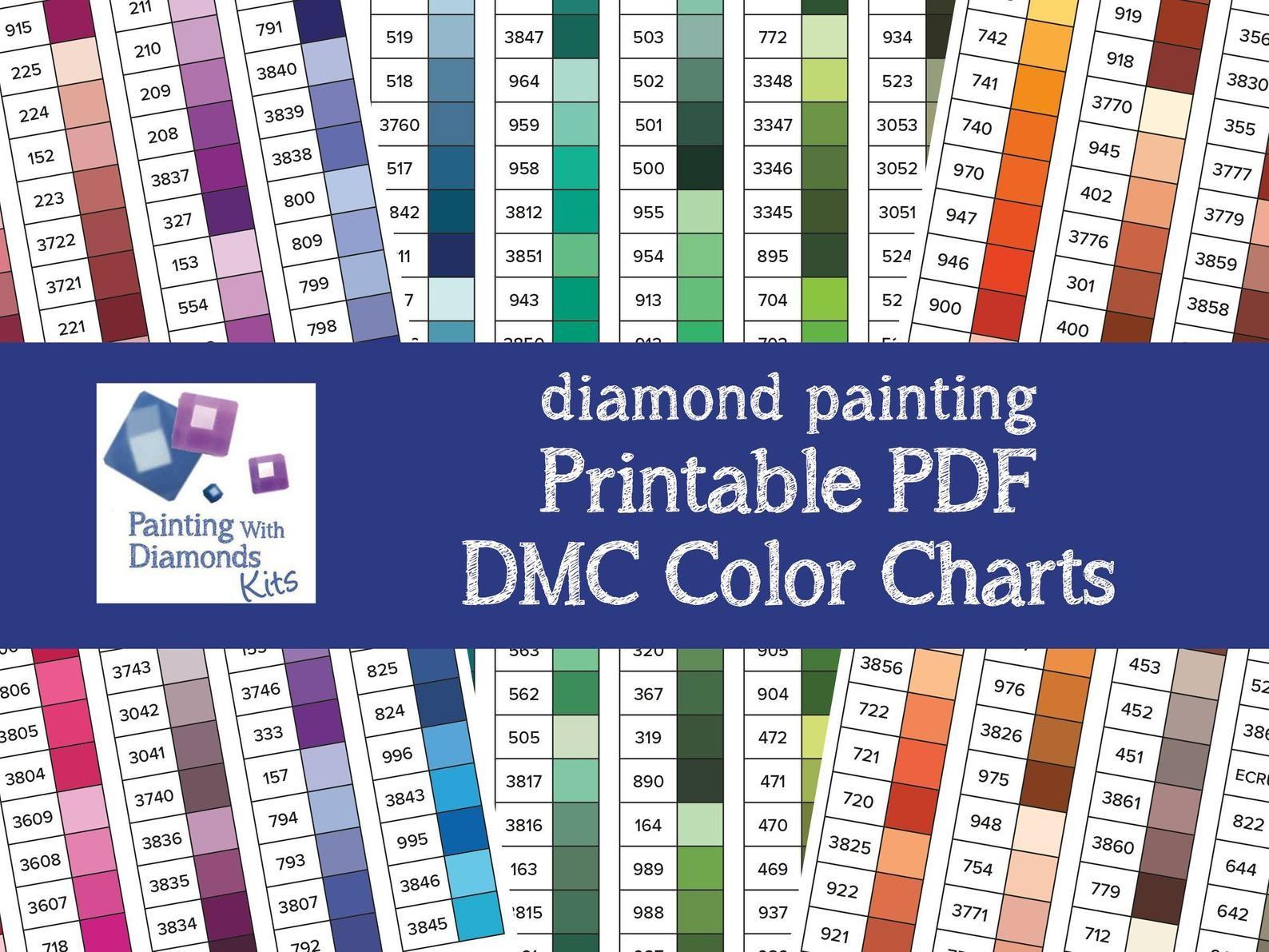 Printable Pdf Dmc Color Charts Diamond Painting Drill Color Etsy Dmc Floss Chart Diamond Painting Color Chart