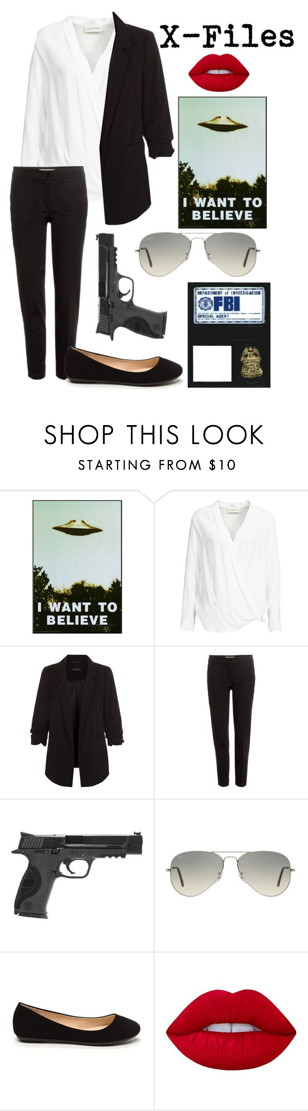 """"""" X-Files """" by pockynoodles ❤ liked on Polyvore featuring By Malene Birger, New Look, Etro, Smith & Wesson, Ray-Ban and Lime Crime"""