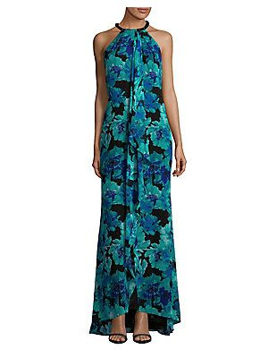 fc3975ccc3b96 Calvin Klein Floral-Print Halterneck Maxi Dress | Wedding Guest ...