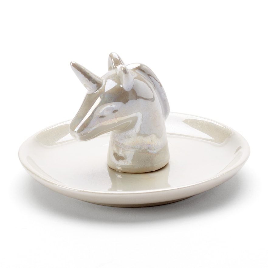 LC Lauren Conrad Unicorn Ring Holder Trinket Tray, White