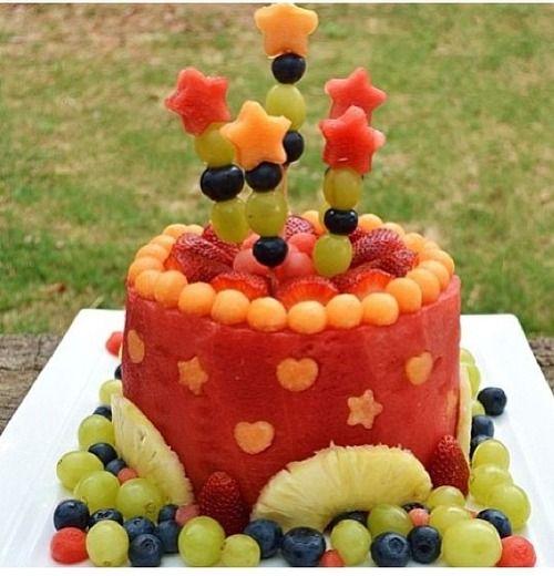 watermelon and fruit birthday cake Beautiful Food Pinterest