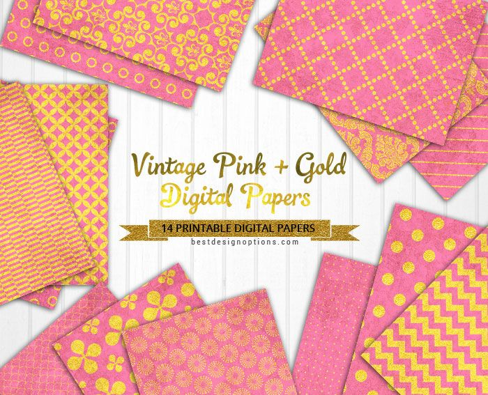 Free 14 Digital Scrapbooking Papers In Vintage Pink And Gold