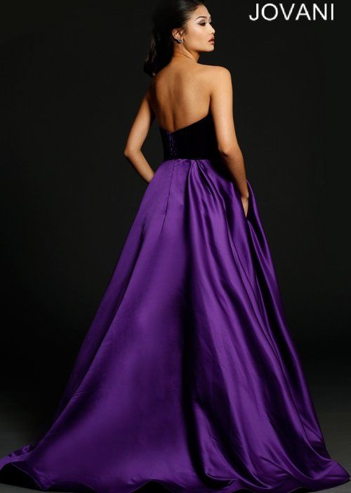 Beautiful long purple prom ball dress 2015 Jovani with strapless ...