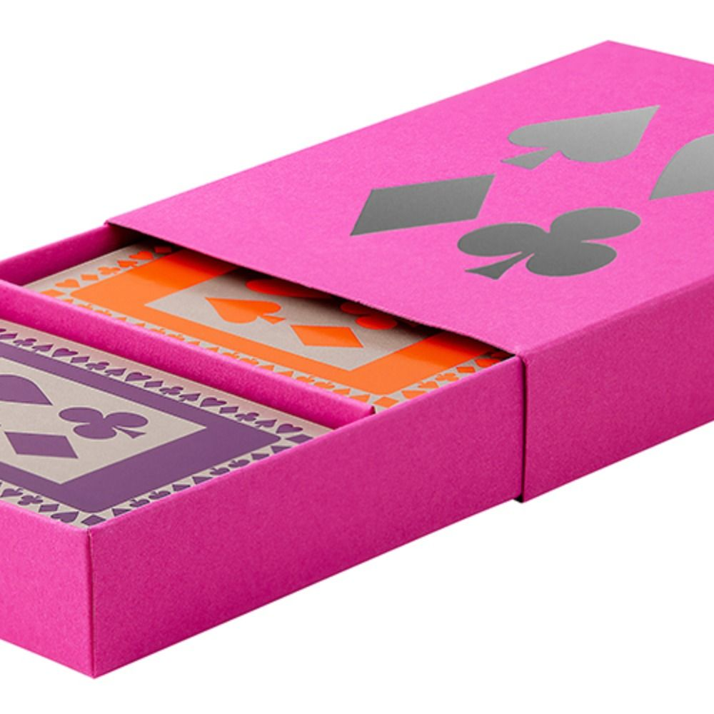 Fuchsia sleeved box with orange and purple playing cards