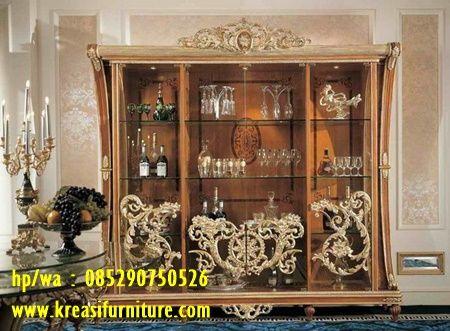 almari pajangan klasik mewah mahkota - kreasi furniture