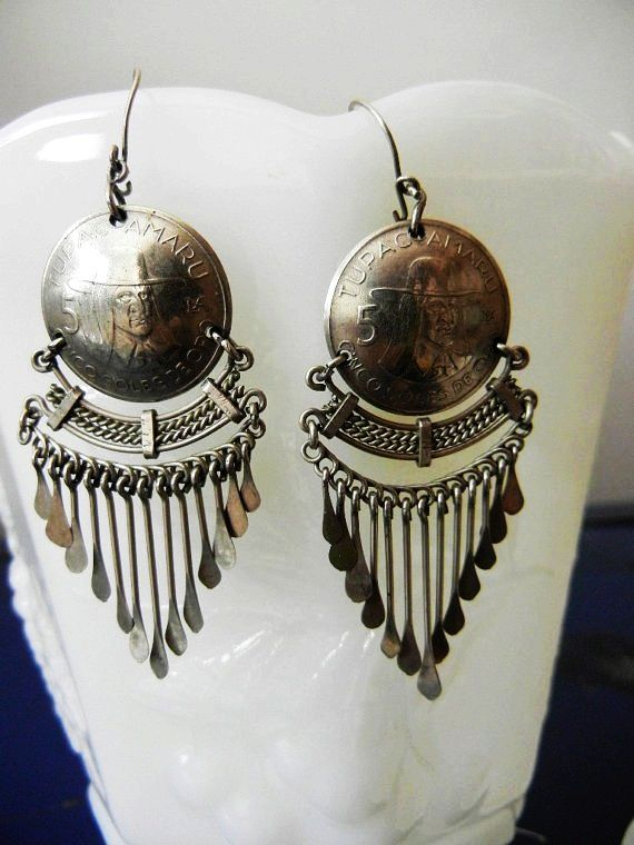 Vintage Peruvian Silver Jewelry Peruvian Coin EarringsTupac Amaru Inca Leader