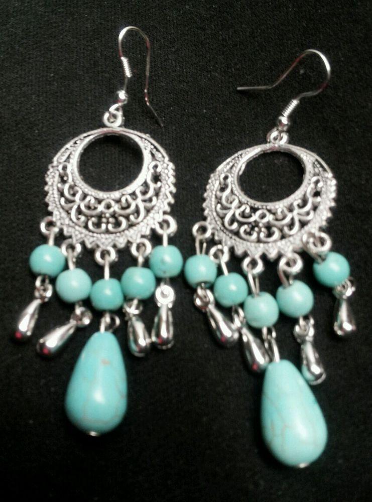 Elegant Turquoise Silver Dangle Chandelier Earrings Party Bellydancing Costume