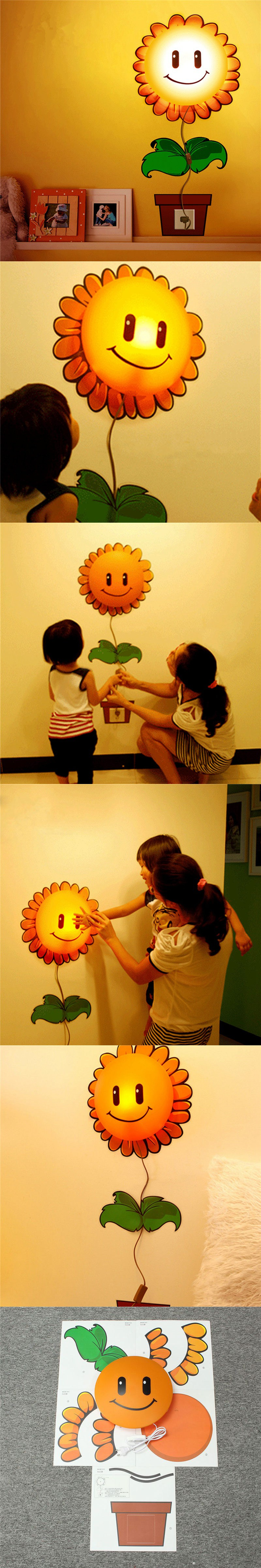3D DIY Cute Sunflower Cartoon LED Wallpaper Lamp Light Wall Sticker ...