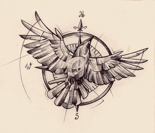 crow/compass tattoo design for a private client. I've been getting to do so much drawing lately! It's awesome. Also, I love getting to work in this style. You do not have permission to use or reproduce this image in any way, so please don't :)