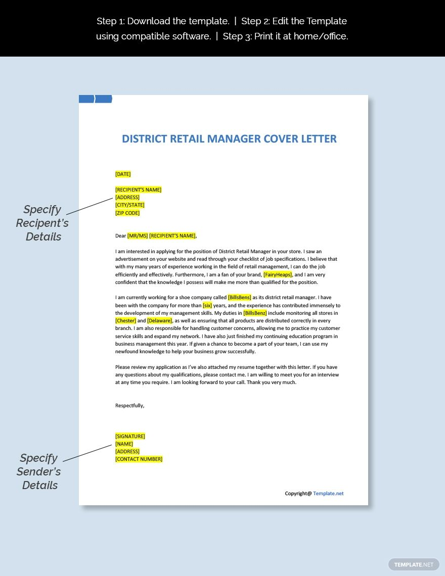 Free District Retail Manager Cover Letter Template #AD, , #Ad, #Retail, #District, #Free, #Manager, #Template