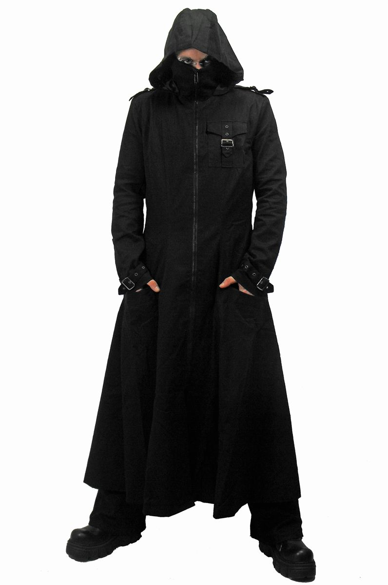 Black Hooded Trench Coat Mens Goth Punk Long Jacket Custom   Mens Trench Coat With Hood
