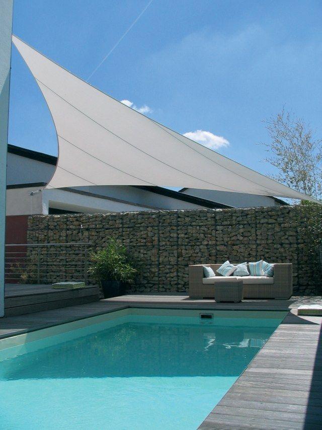 Sonnensegel pool sitzecke gabionen mauer modern wohnung for Alternative zu gabionen